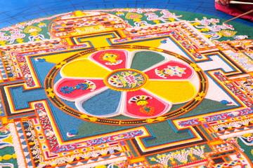 Tibetian mandala from colored sand