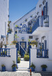 white walls and blue stairs on Santorini - 68222925