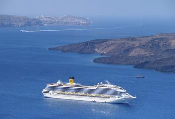 white sea liner on Santorini