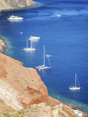yachts on Santorini
