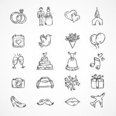 Vector wedding icons, bride, groom, couple, love, marriage