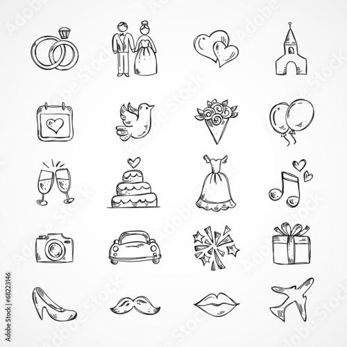 Vector wedding icons, bride, groom, couple, love, marriage - 68223146