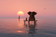 canvas print picture - elephant and dog sitting in the middle of the sea
