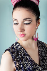 beautiful girl in the image retro with beautiful makeup