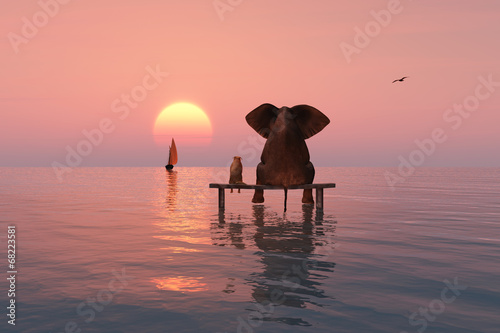 Leinwanddruck Bild elephant and dog sitting in the middle of the sea