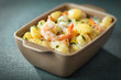Bowl of prawns in Italian gnocchi pasta