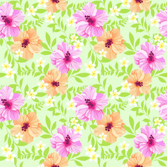 Colorful tropical flowers ~ seamless vector background