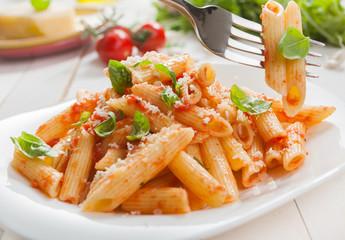 Delicious savory Italian penne rigate pasta