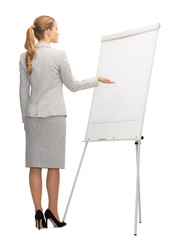 businesswoman or teacher with whiteboard from back