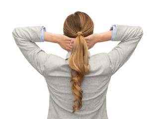 businesswoman or teacher in suit from back
