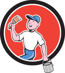 House Painter Holding Paintbrush Bucket Cartoon