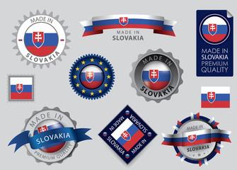 Made in Slovakia Seal, Slovakian Flag (vector Art)