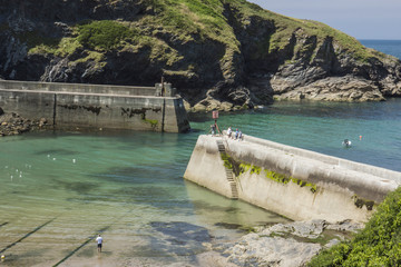 View of piers at Boscastle, Cornwall, England