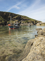 Boat in harbour at Boscastle, Cornwall, England