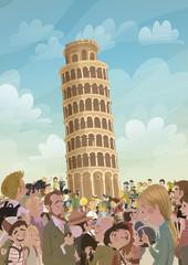 Turismo en la torre Pisa