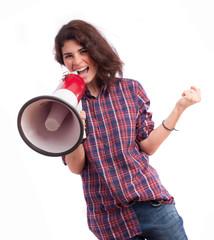 Girl celebrating and holding a megaphone