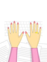 Female hands over keyboard