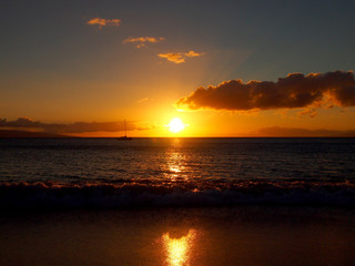 Sunset over the waters of Maui