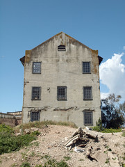 Rundown Quartermaster building on Alcatraz Island