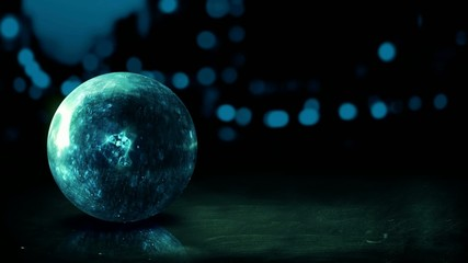Dark Blue Orb 3D Bokeh City Background Loop Animation