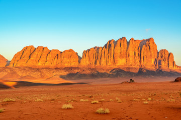 Scenic Jordanian desert in Wadi Rum, Jordan at early-morning