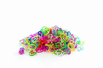 Group of elastic rainbow loom bands
