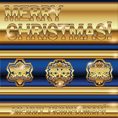 Mery Christmas golden snowflakes background