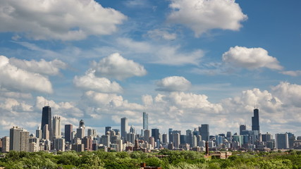 Chicago Skyline City Time lapse with cloud Dynamic