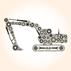 Backhoe icon of tractor from gears. vector eps10