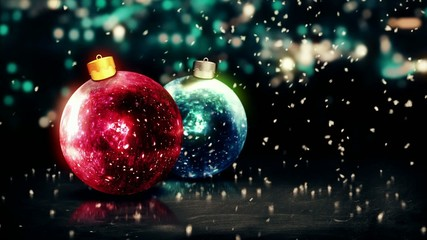 Baubles Christmas Night Bokeh Beautiful 3D Loop Animation