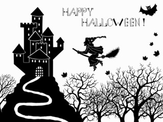Halloween card with witch and castle