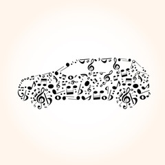 car from music notes