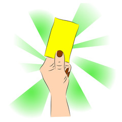Hand of a judge or referee showing yellow card vector images