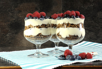Healthy diet high dietary fiber breakfast sundaes