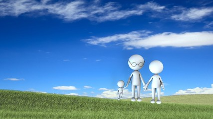 happy family scene outdoors