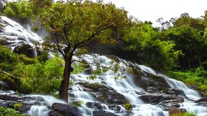 HD Time Lapse Maeya waterfall Ms Tilt Up
