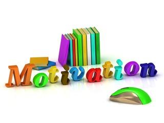Motivation inscription bright volume letter and textbooks