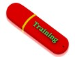 Training - inscription bright volume letter on red USB flash