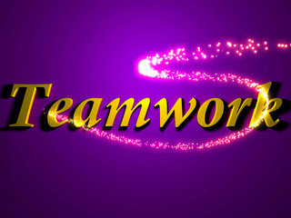 Teamwork- 3d inscription with luminous line with spark