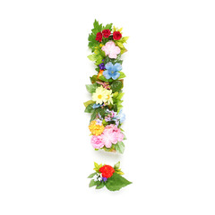 Exclamation point made of leaves and flowers