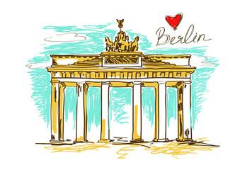 Illustration of Brandenburg gate in Berlin