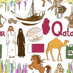 Sketch Qatar seamless pattern