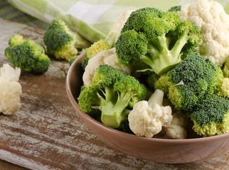 Fresh green broccoli and  cauliflower