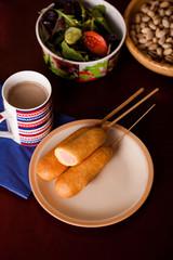 several korndogov on a plate