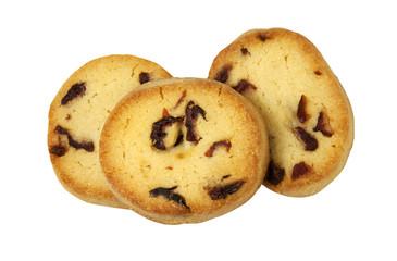 Freshly baked Cranberry Cookies on a white background