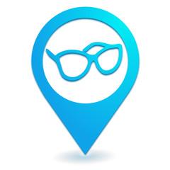 opticien sur symbole localisation bleu