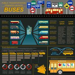 Public transportation ingographics. Buses