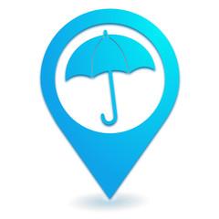 parapluie sur symbole localisation bleu