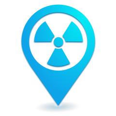 radioactivité sur symbole localisation bleu