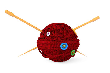Knitting needles and wool ball